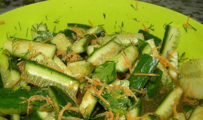 салат морковь по корейски и огурцы на зиму рецепты