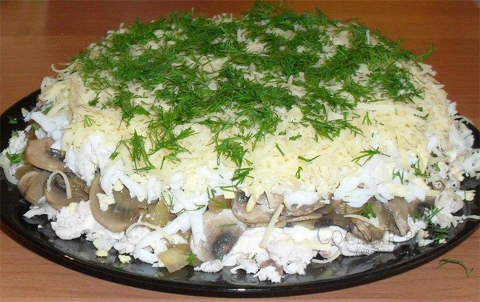 как приготовить салат из грибов и курицы