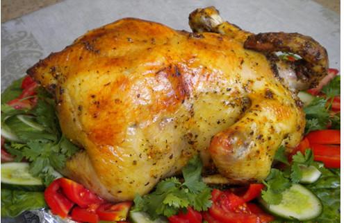 Фаршированная курица в духовке с грибами целиком с фото