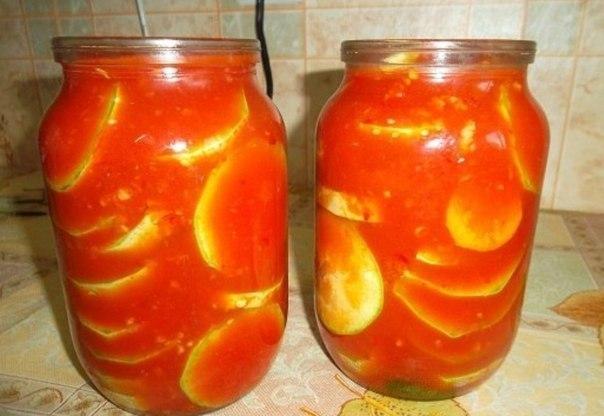 Кабачки в томатной пасте на зиму рецепты с фото пошагово