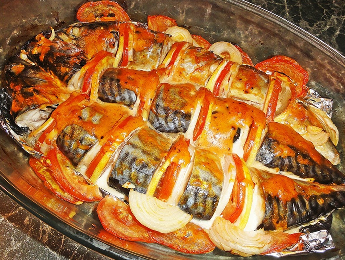 скумбрия запеченная в духовке кусочками рецепт с фото