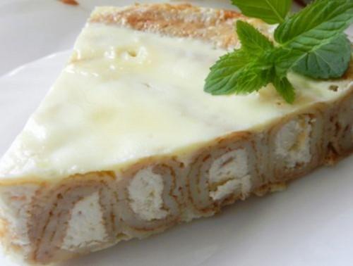 Пирог блинный с творожной начинкой