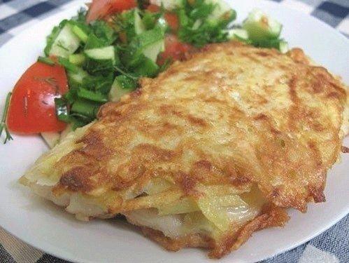 Рыба жареная под шубой из картофеля