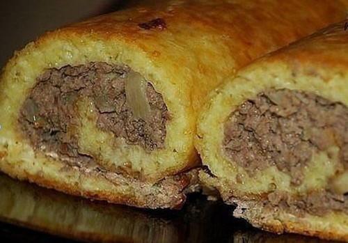 Сырный пирог с мясом